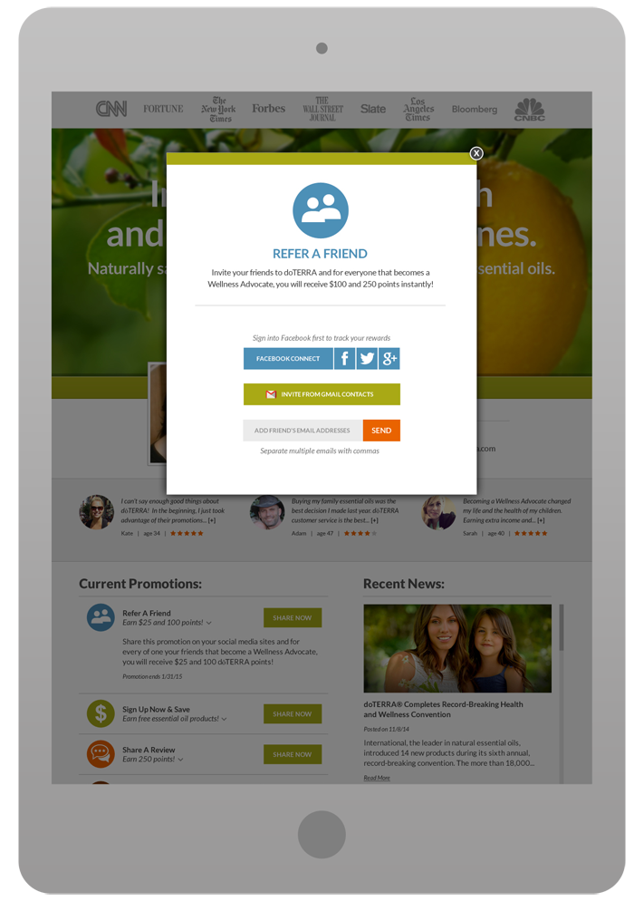Promotional Landing Page - Refer A Friend Pop-Up