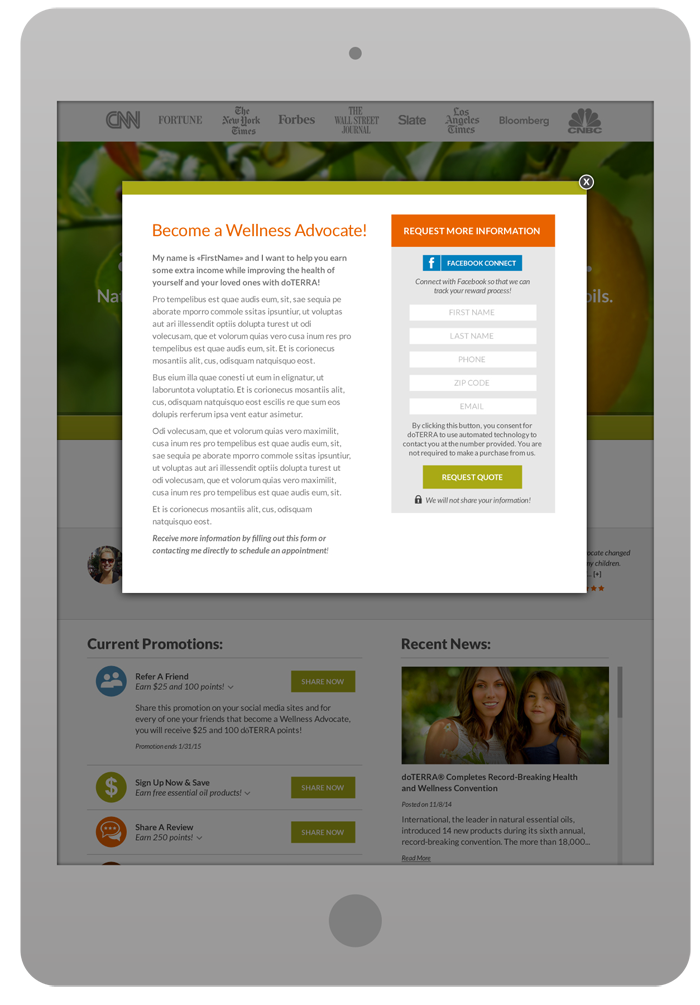 Promotional Landing Page - Lead Generation Pop-Up