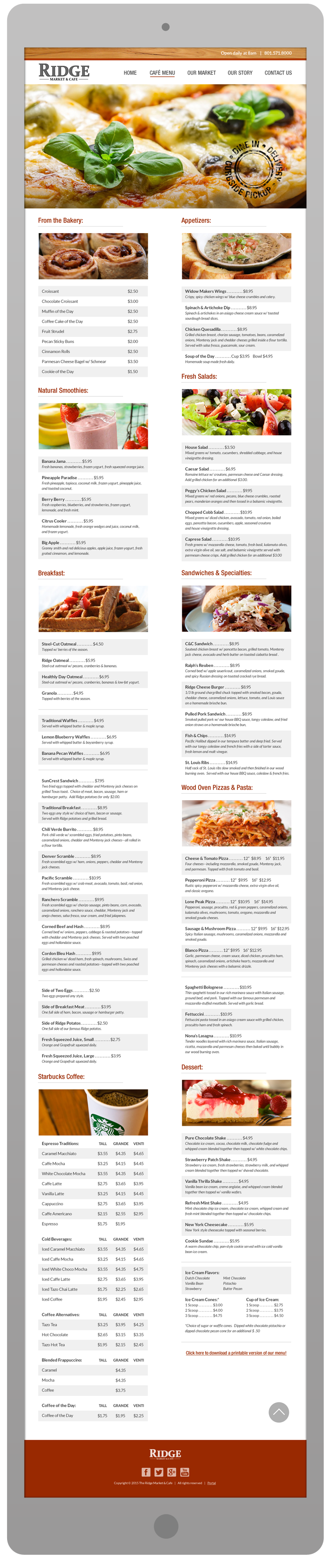 New Website Design - Cafe Menu