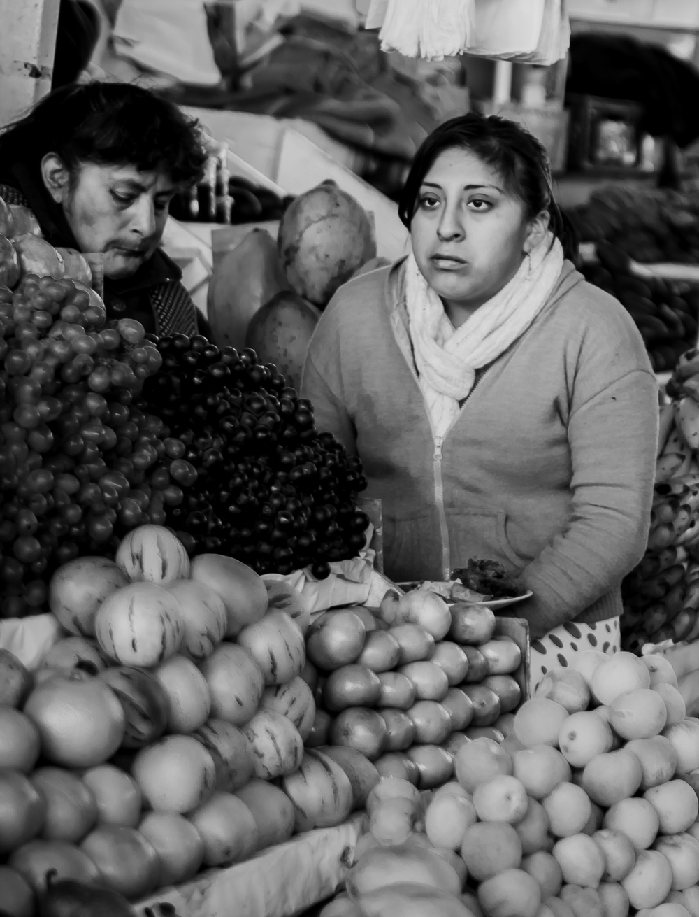 A daughter and her mother during a days trade.