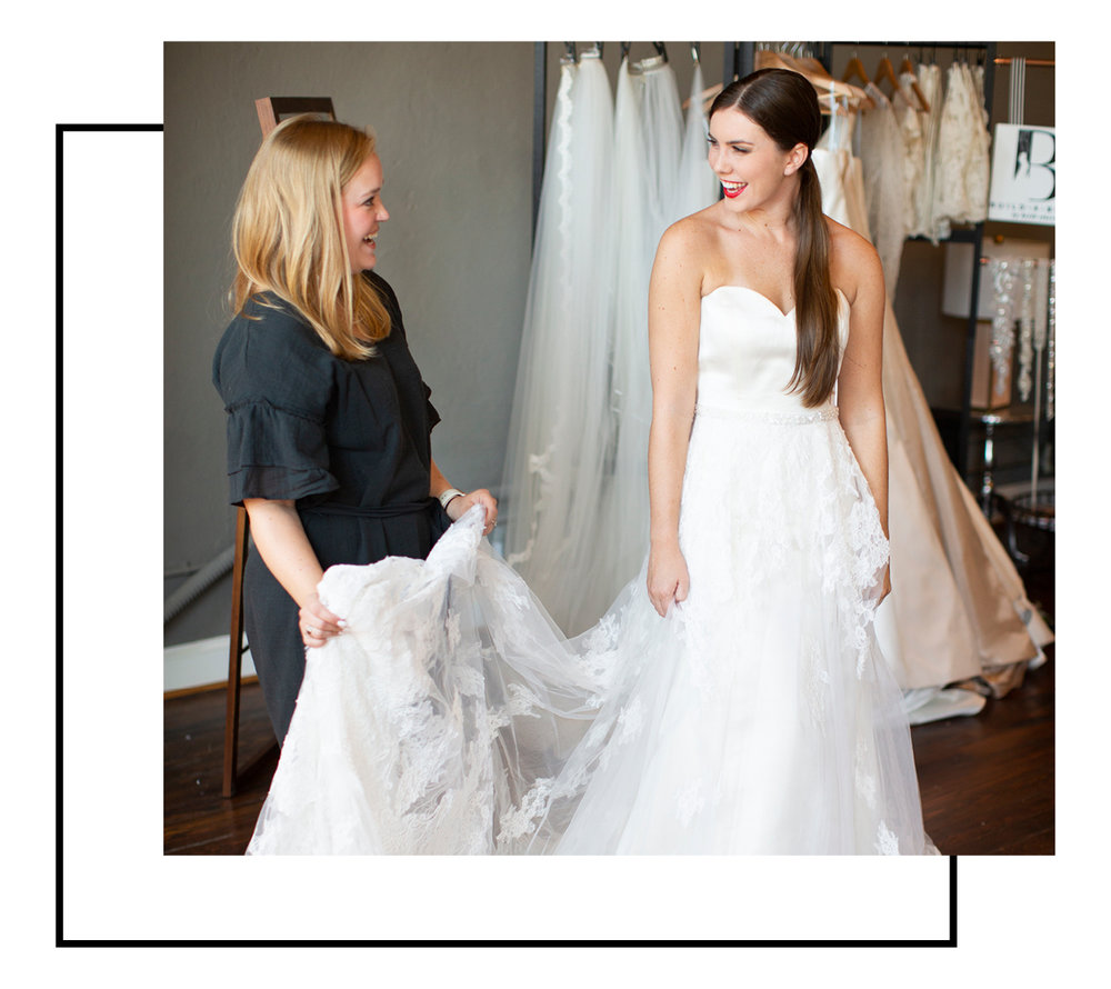 """Step one - Build-A-Bride™ is a collection of wedding dresses designed by Heidi Elnora. (We refer to our dresses as a canvas that brides can build their dream dress upon.) The women responsible for these canvases are our """"Bridal Curators™."""" Bridal Curators™ help the brides to turn their canvas into an original work of art - their wedding dress. Build-A-Bride Enterprises, Inc is the FIRST EVER """"Direct to Consumer, In-Home Bridal Boutique Experience"""" (IHBBE – for short)."""