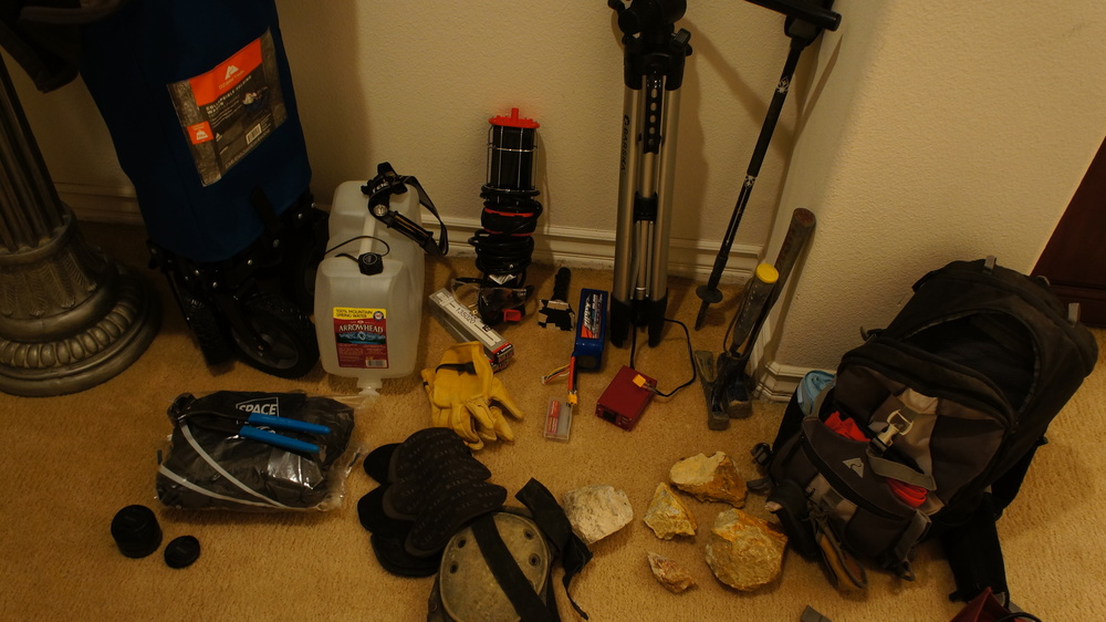 Gear check. A typical night of collecting.