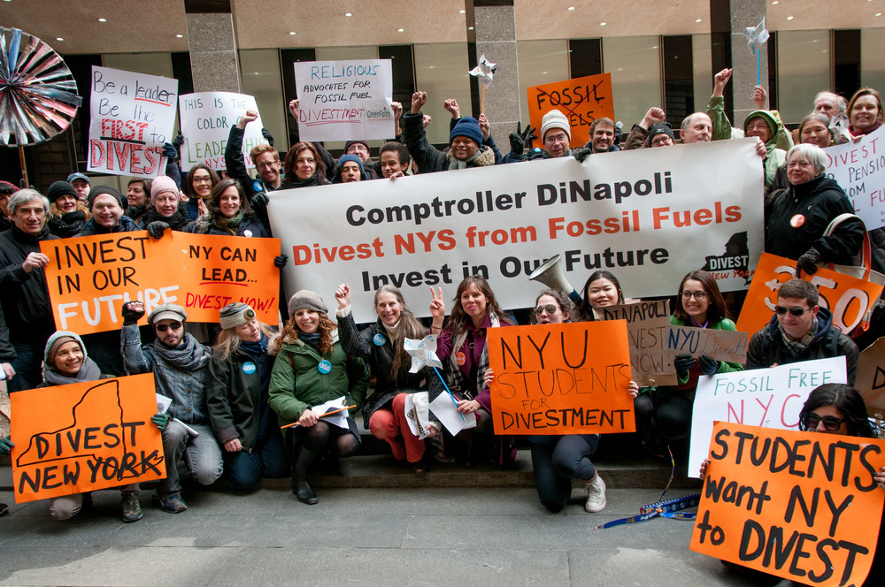 Divestment rally, New York, March 2014