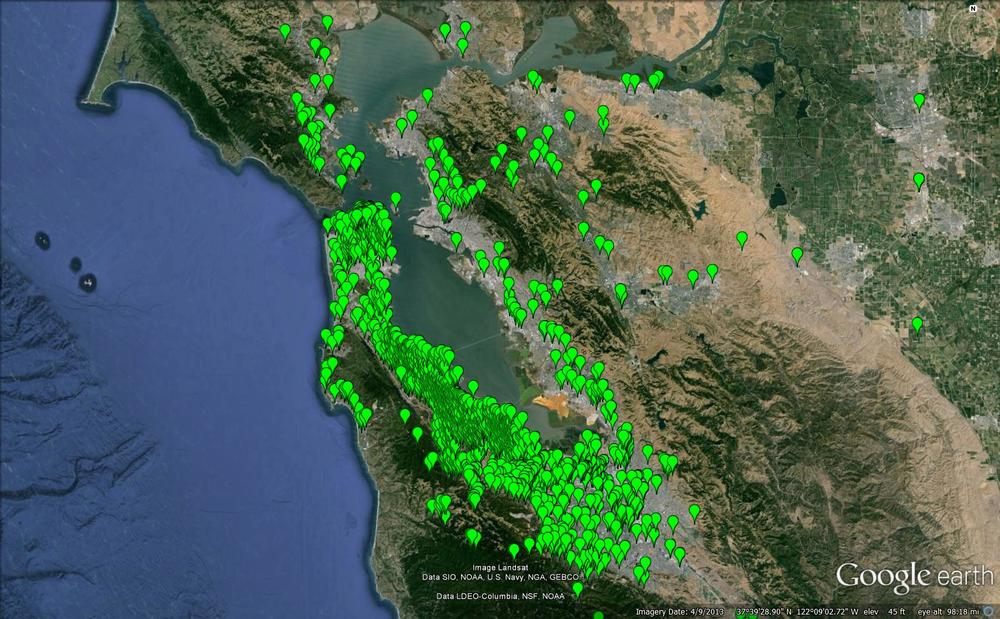 Partial map of project locations in the Bay Area