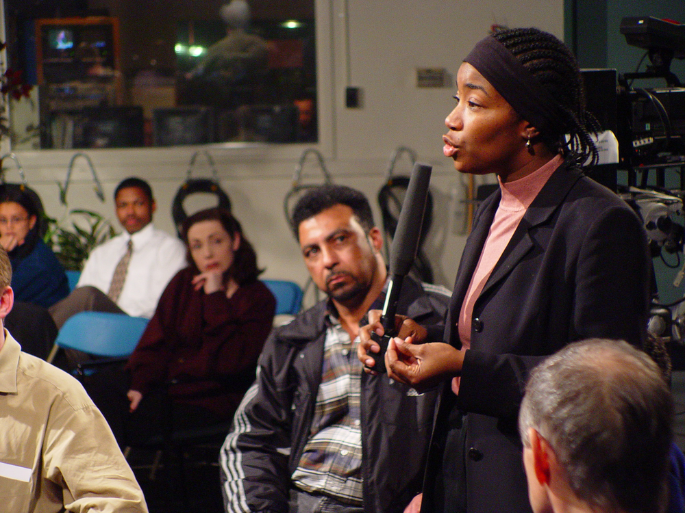 "A round table discussion organized by Portland Community Access followed an airing of our first film ""NorthEast Passage"" in February of 2003."