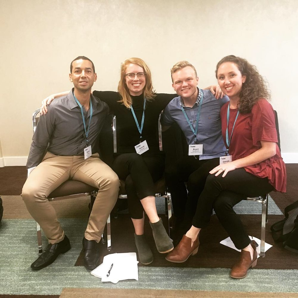 "Just before our panel ""MFA Takeaways: Connecting Knowledge to Practice."" Darion Smith, Hannah Andersen, Bryant Henderson, and Gabrielle McNeillie"