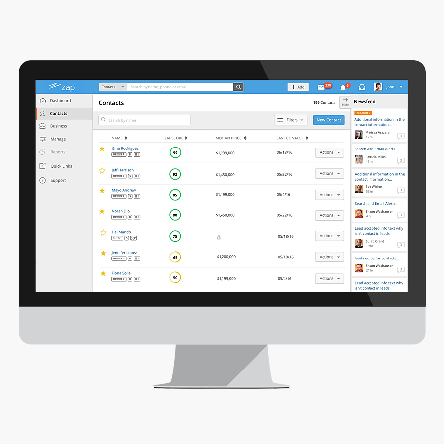 Redesign boosts efficiency and accuracy in managing Contacts.