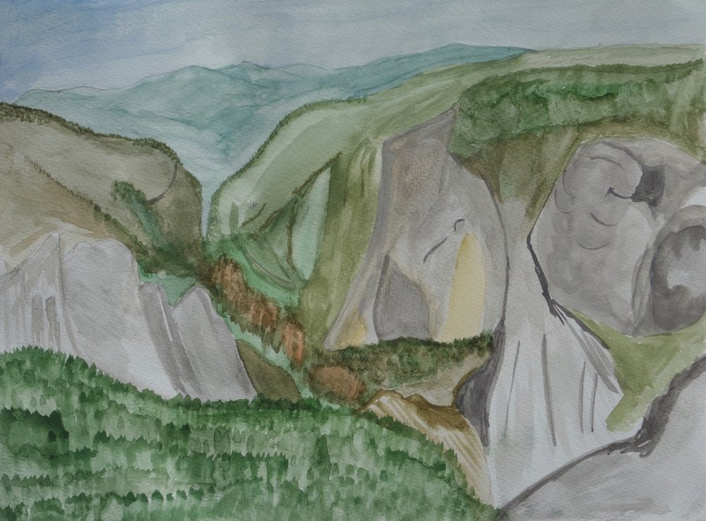Grey Blue Haze: Red Pine view of Cathedrals & El Capitain, Yosemite Valley from atop Sentinel Dome, Pencil, Watercolor on Paper 2016.jpg
