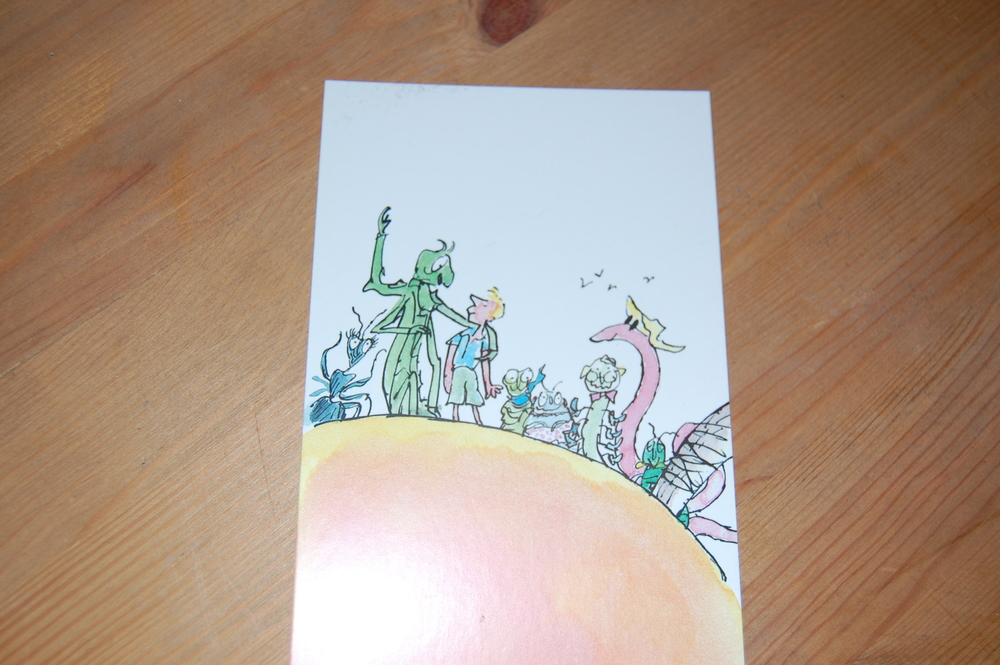 Postcard  showing James and the insects from 'James and the Giant Peach'. Illustration by Quentin Blake. Bought at the exhibition.