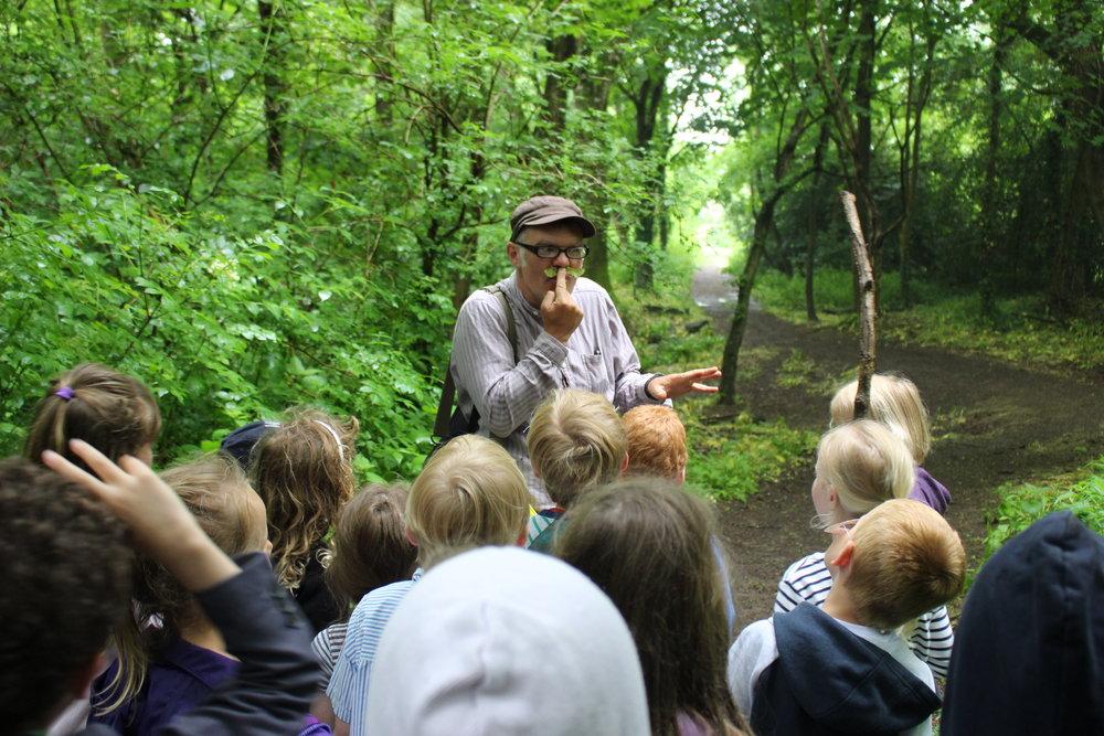 Storyteller Martin Maudsley in the woods