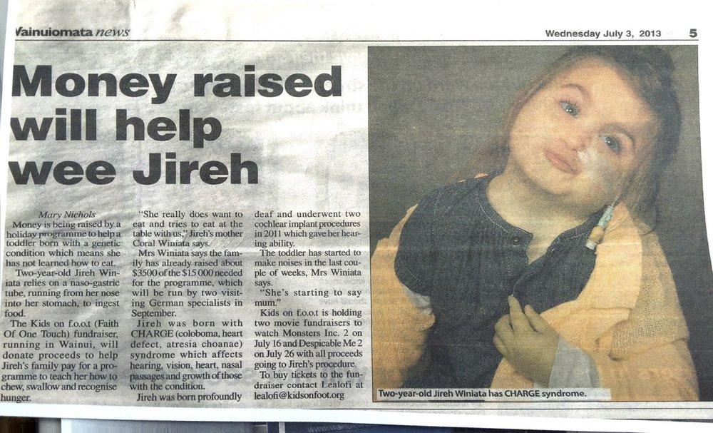 Money raised will help wee Jireh.jpg