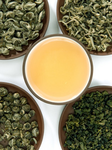 Différentes variétés de thés verts