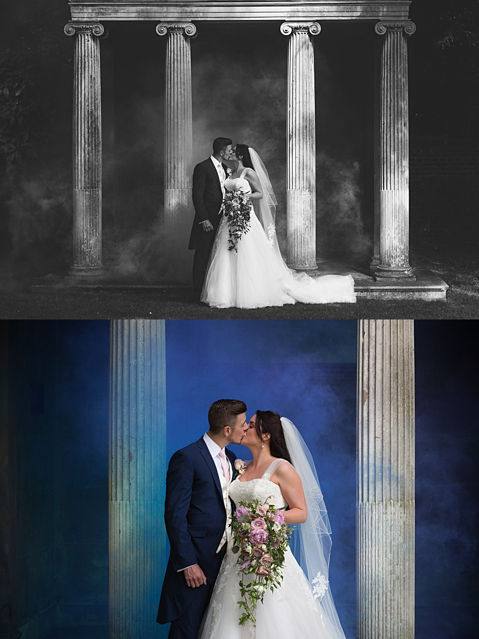 wedding photography, smoke grenades, cobham hall wedding, British wedding