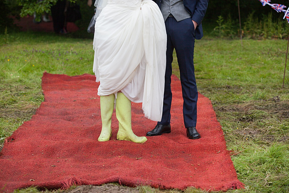 festival bride, diy wedding, wellies, bride and groom
