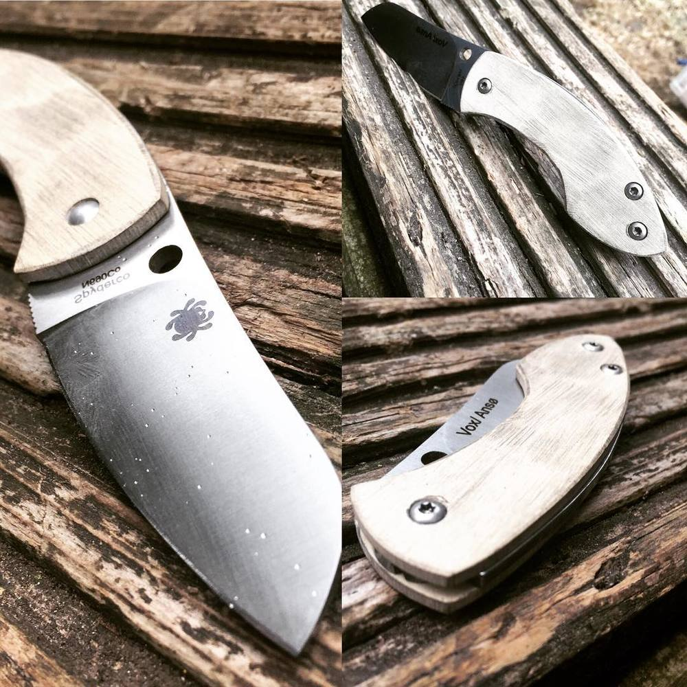 White paper micarta scales, rough finished with 80 grit sand paper for a weathered finish.  Still a clip to do.
