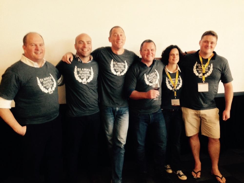 Bruce Jack of Flagstone Wines, far left with fellow new generation of winemakers at Cape Wine