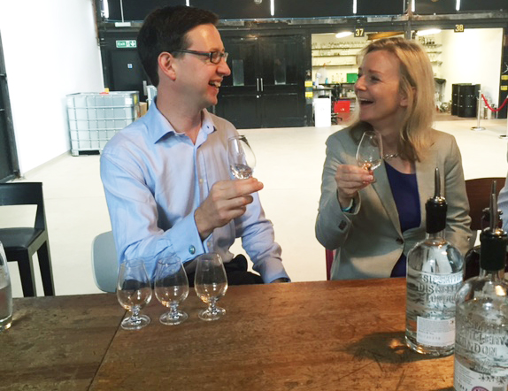 Miles Beale and DEFRA's Lizz Truss share a joke on her recent visit of the Beefeater and Sipsmiths gin distilleries