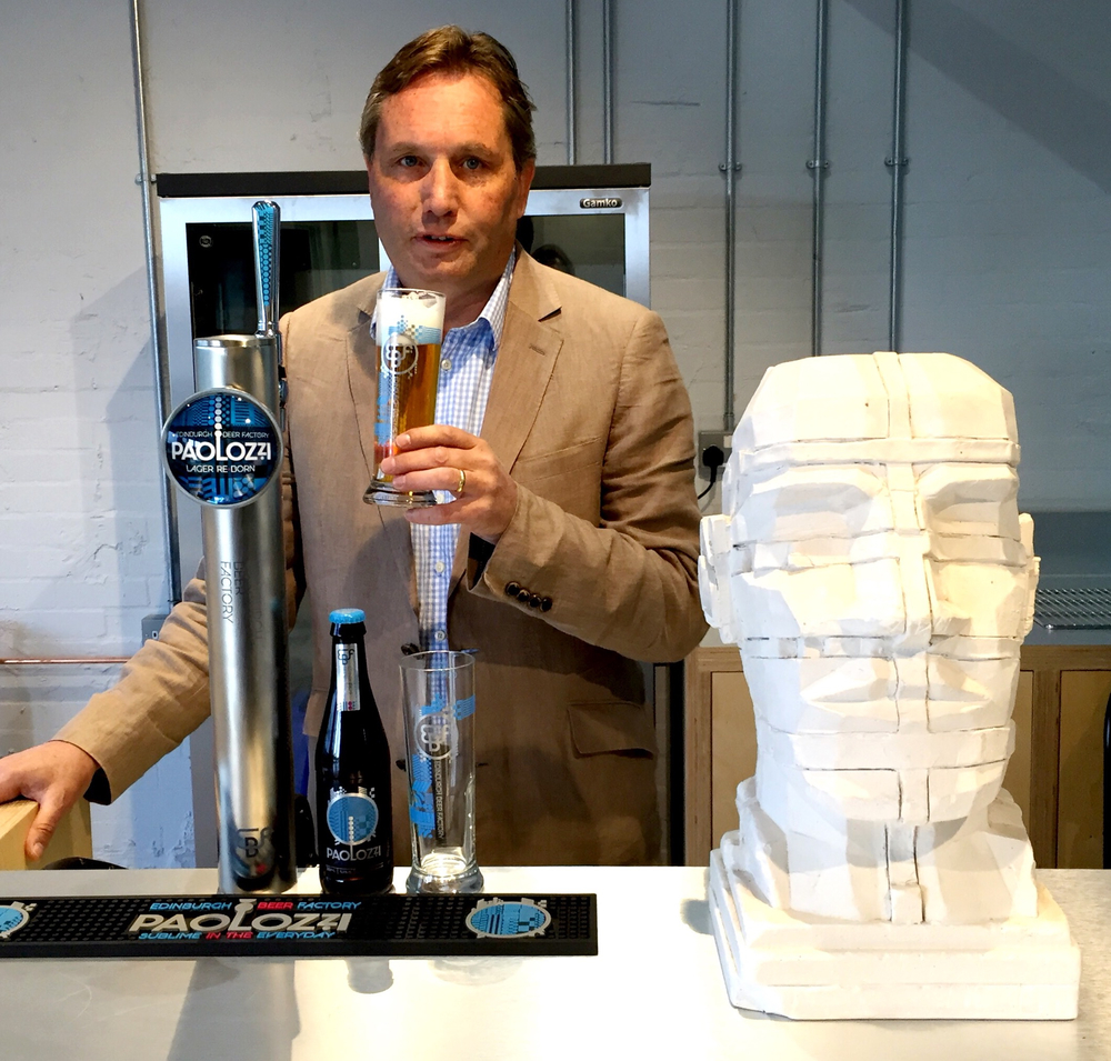 Edinburgh Factory's John Dunsmore witih his new beer, Paolozzi lager