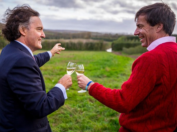 """This is all ours.."" Pierre-Emmanuel Taittinger (left) with Patrick McGrath, MD of Hatch Mansfield"