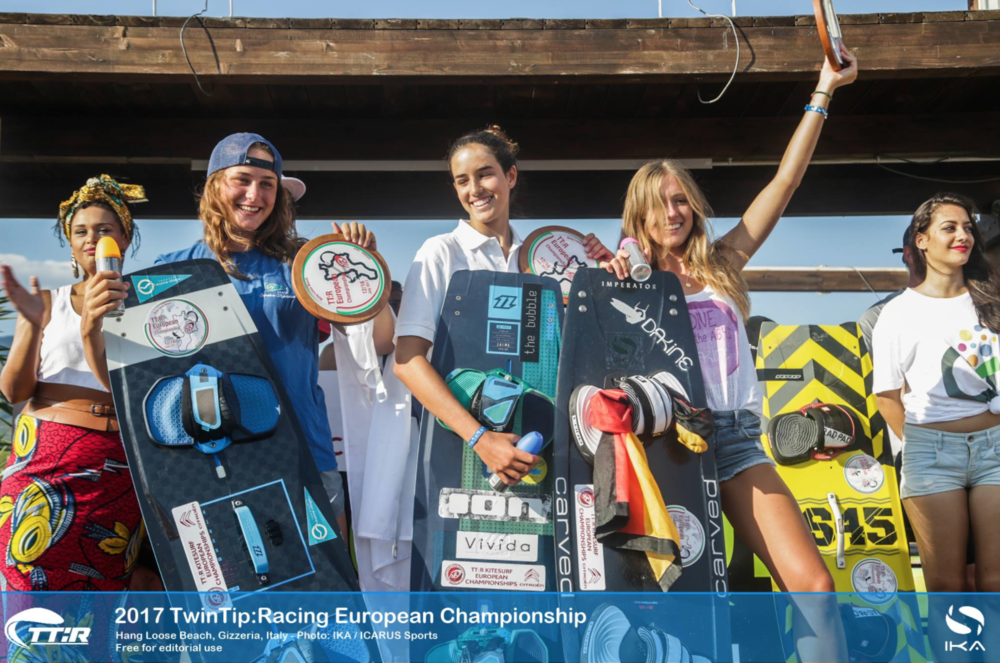 Nina Font | Spain  2018 Kitesurf TTR Racing World Champion  2017 Kitesurf TTR Racing European Champion  2016 Junior European Kiteboarding Champion