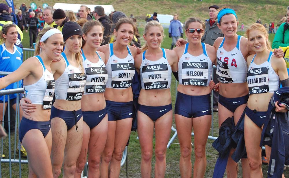 PRICe (center) with Team USA at the Great Edinburgh international cross country race.