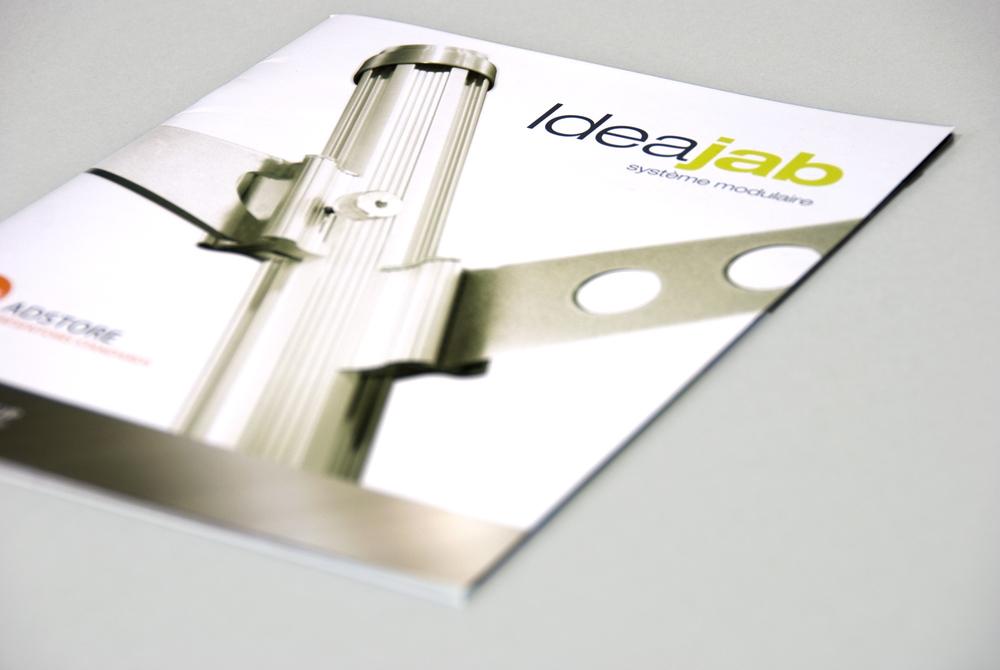 Brochure de vente, système de présentoir modulaire Ideajab. Imprimé.