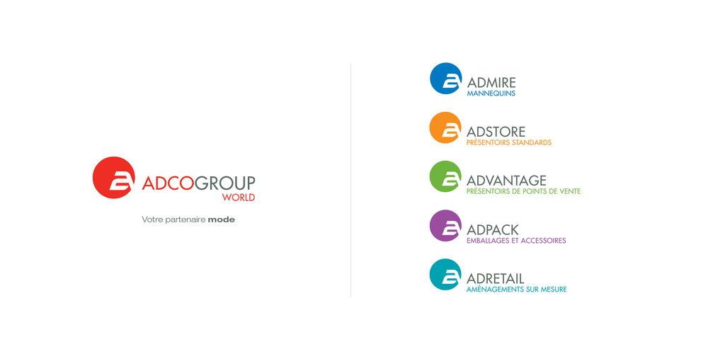 Adcogroup World. Logo corporatif et portefeuille de marques.
