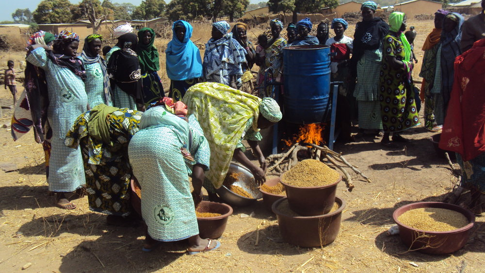 A group of farmers in Mali are taught postharvest techniques