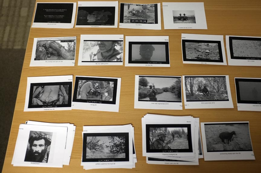 Visual cue cards during early editing and building of the assembly before rough cut editing. ©Louie Palu