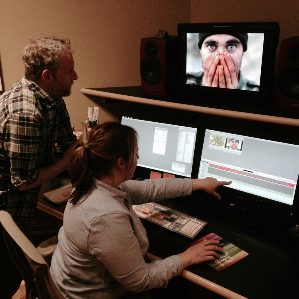 Editor Lawrence Jackman and Colourist Kerri Locke at Fearless Films work on the final colour correction and picture post in Toronto before completing the film. © Louie Palu