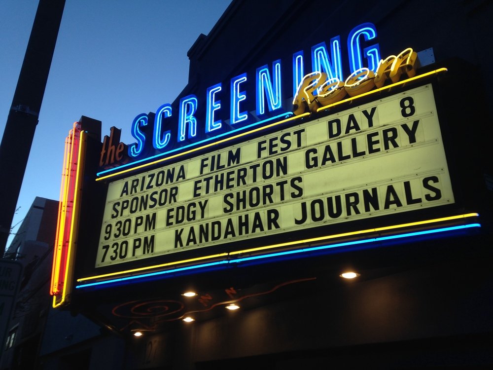The Marquee at the Screening Room Theater in downtown Tucson, Arizona the night of the films premiere.