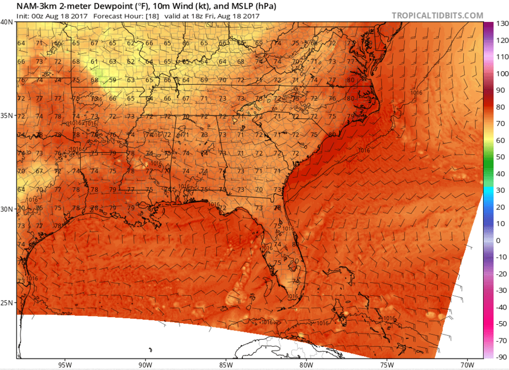 2-meter Dew Point Temperatures, Friday, Aug. 18th, 2:00 p.m.           Source: tropicaltidbits.com