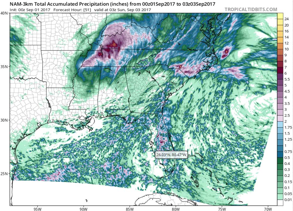 North American Mesoscale (NAM) Model precipitation estimates through Saturday night. Source: tropicaltidbits.com