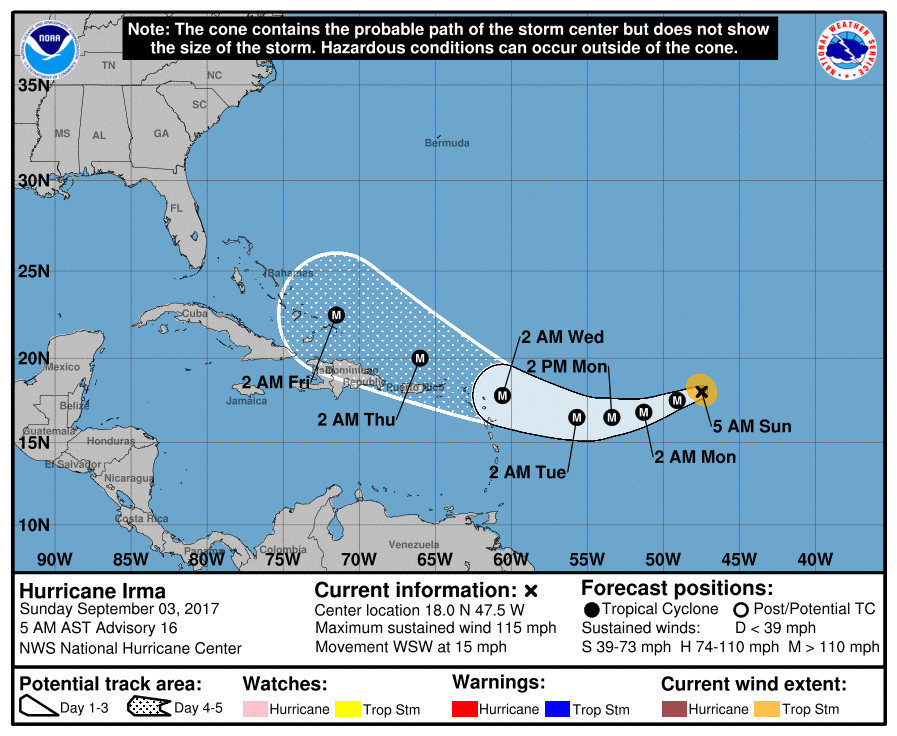 Official National Hurricane Center Track of Irma as of Sunday 9/3/17 5:00am
