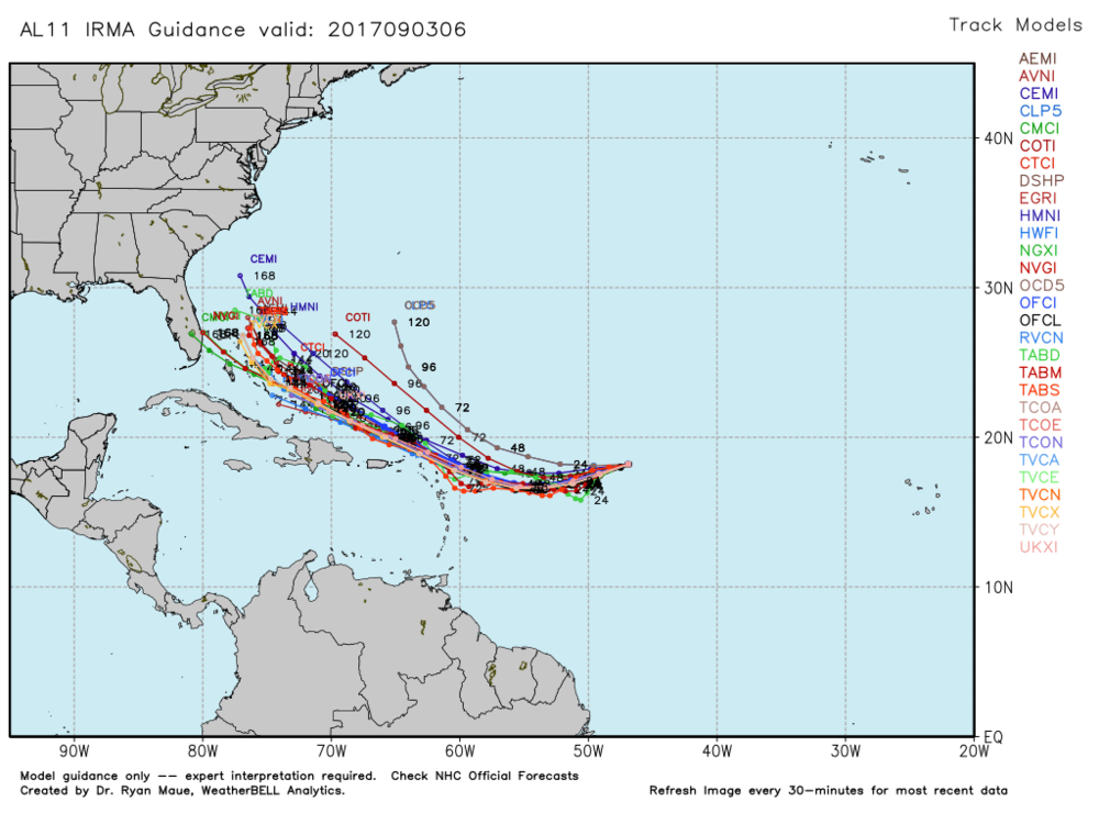 Mid range model spaghetti plots with pretty good agrement on Irma's positioning.