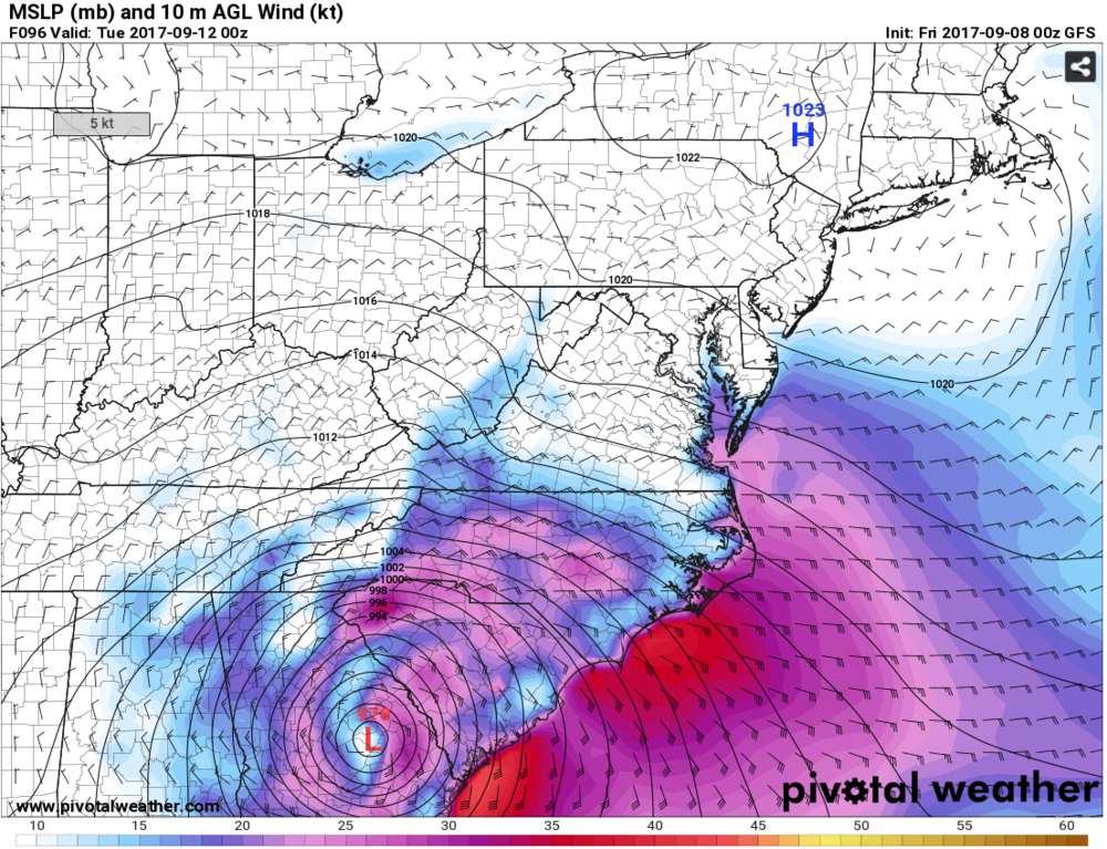 GFS-Estimated Wind Speeds at 8 p.m. Monday, September 11th. Some areas show wind speeds of 25-35 mph. Gusts may be higher. Source: pivotalweather.com