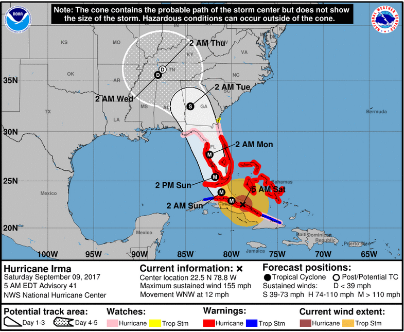 Saturday Weather Discussion Latest on Hurricane Irma  The