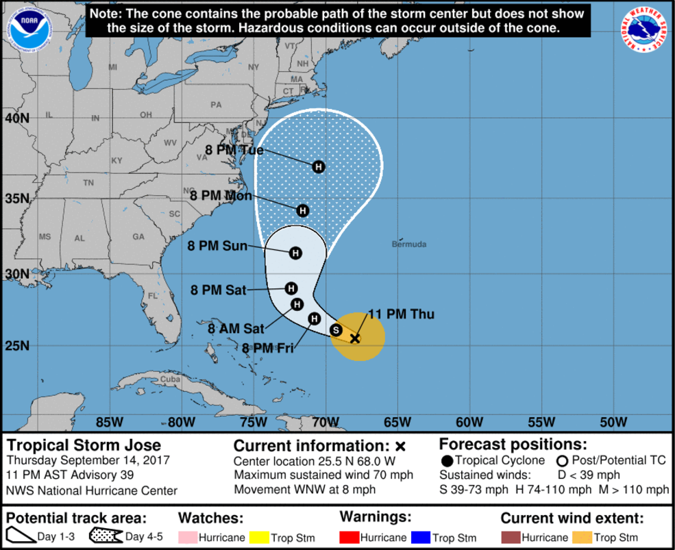 11 p.m. 09/14/2017 Advisory and Official Track on Tropical Storm Jose from the National Hurricane Center.