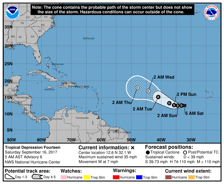 Tropical Storm Lee initial forecast track
