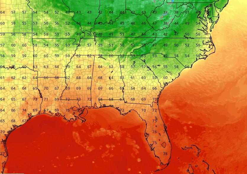 NAM-3km temperatures at 7 a.m. Sunday Morning. Courtesy: tropicaltidbits.com