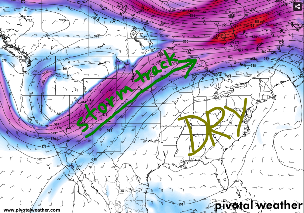 500-mb Heights and Winds. This illustrates the reasoning for clear conditions next week. Source: pivotalweather.com