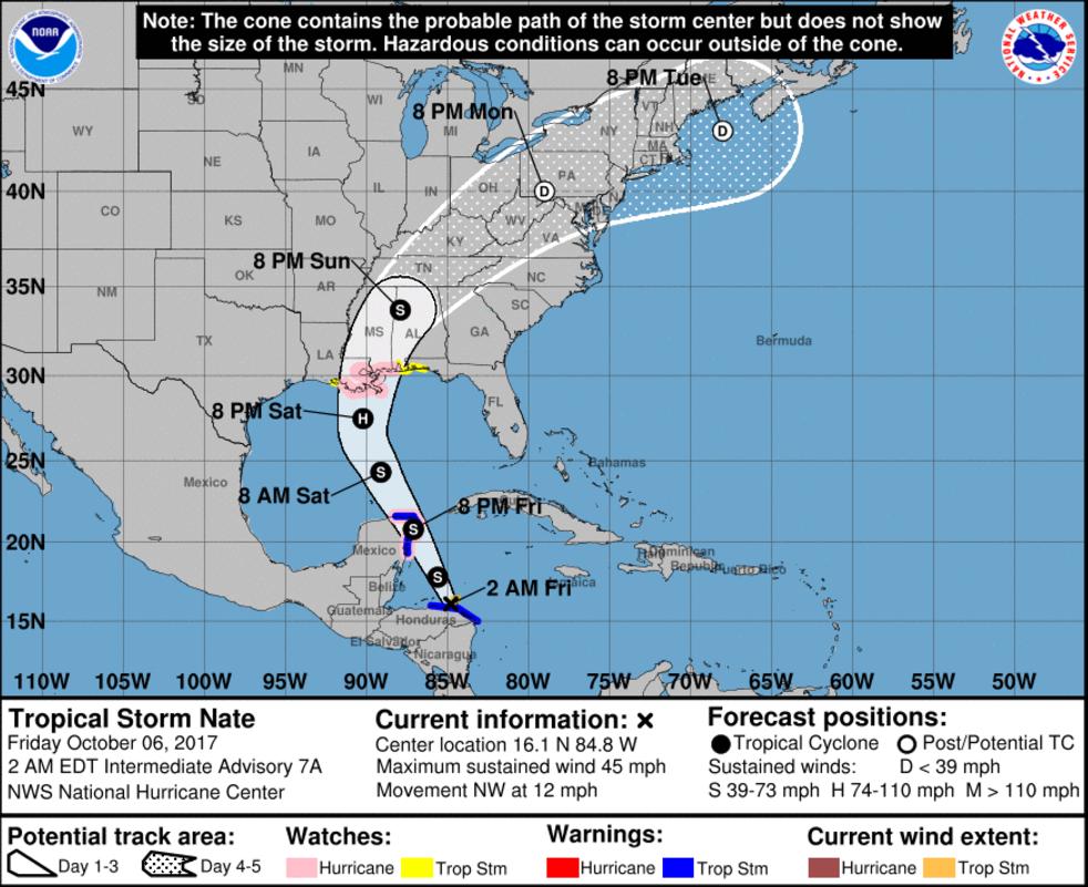 National Hurricane Center Track 06 UTC 10/6/2017