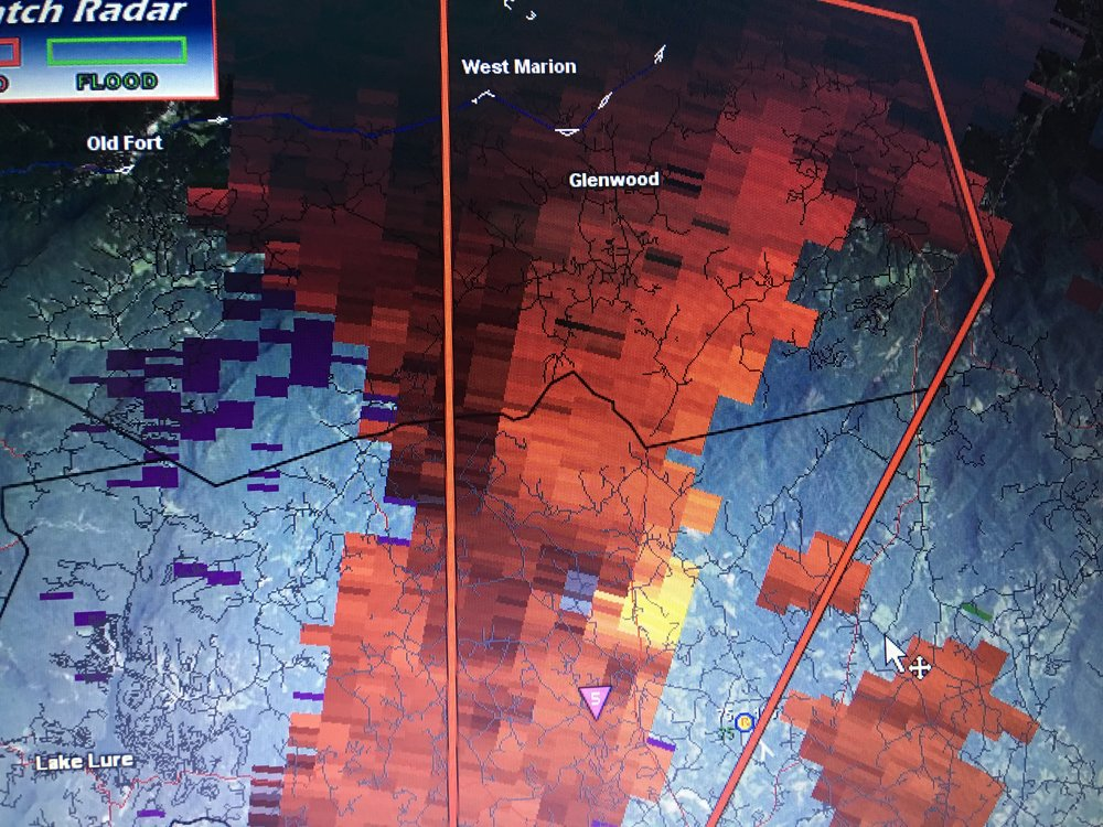 Doppler Radar Velocity image, Northern Rutherford County