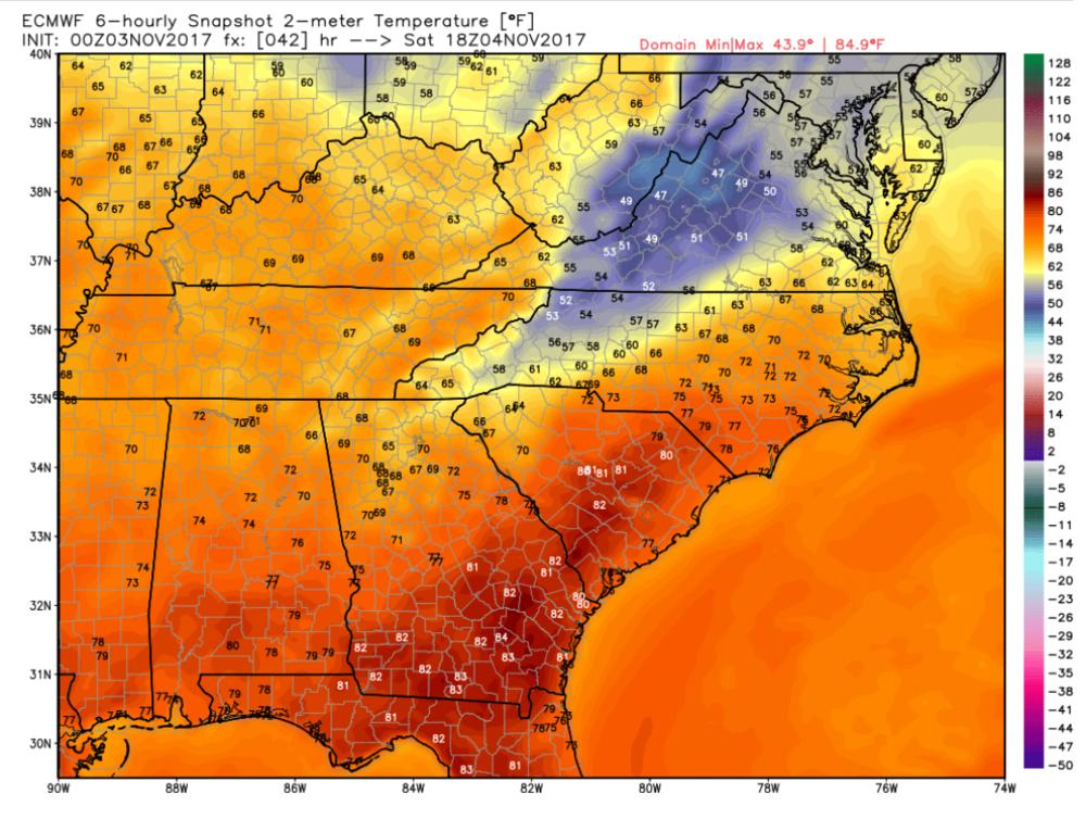 Image 1. European Model Forecasted Temperatures for 2 p.m. Saturday.