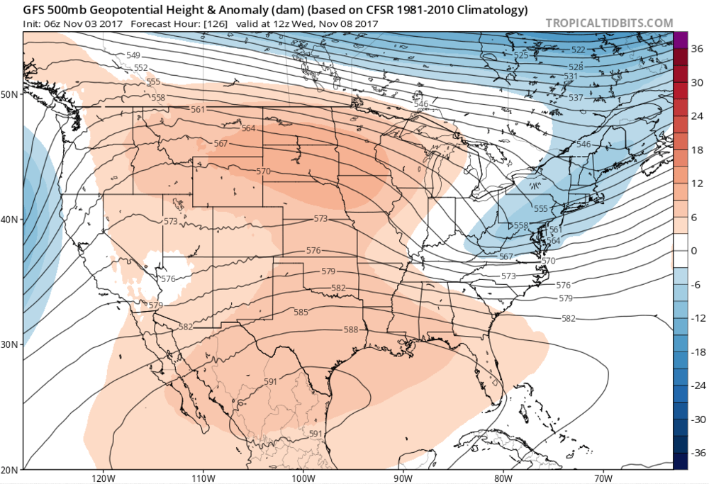Image 3. GFS Forecasted 500-millibar height anomalies for Wednesday Morning. Red colors represent warmer temperatures while Blue colors represent cooler temperatures.