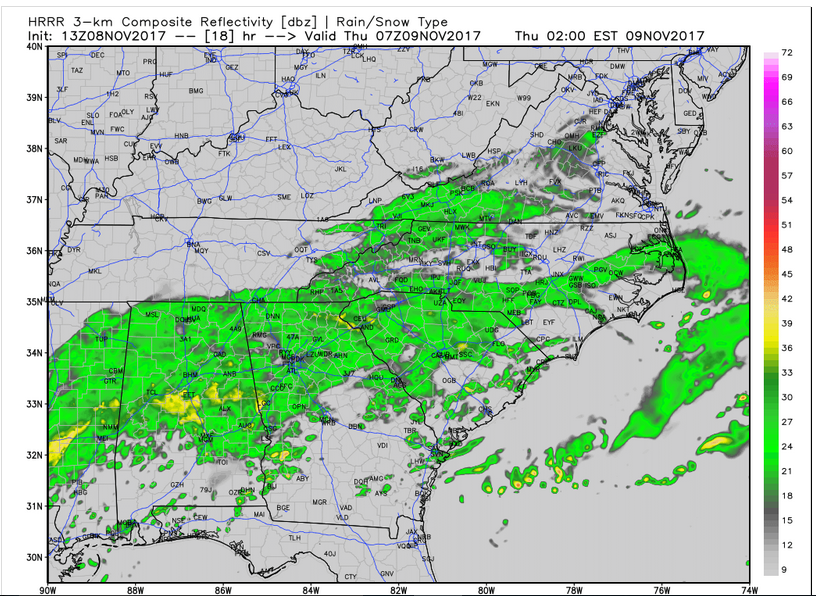 HRRR Model Future Radar (2 am Thursday)