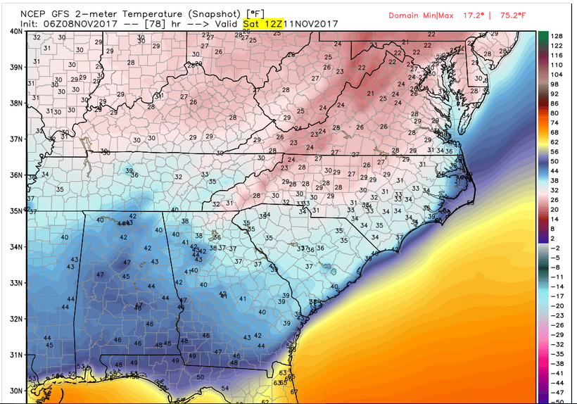 Model Projected Temperatures (7 am Saturday)