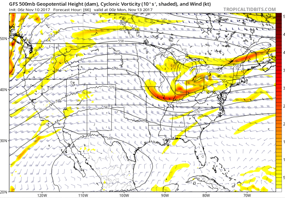 Forecasted 500-hPa heights and Cyclonic Vorticity for 7 p.m., Sunday, 12 November 2017. The orange colors represent the location of the shortwave trough.