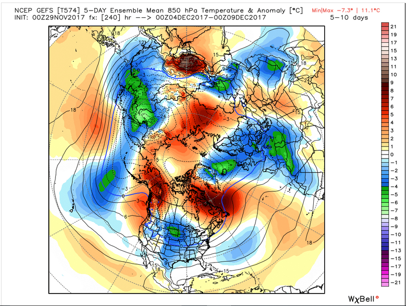 5000 ft temperature 5-Day Avg. (Source: WeatherBell Analytics)