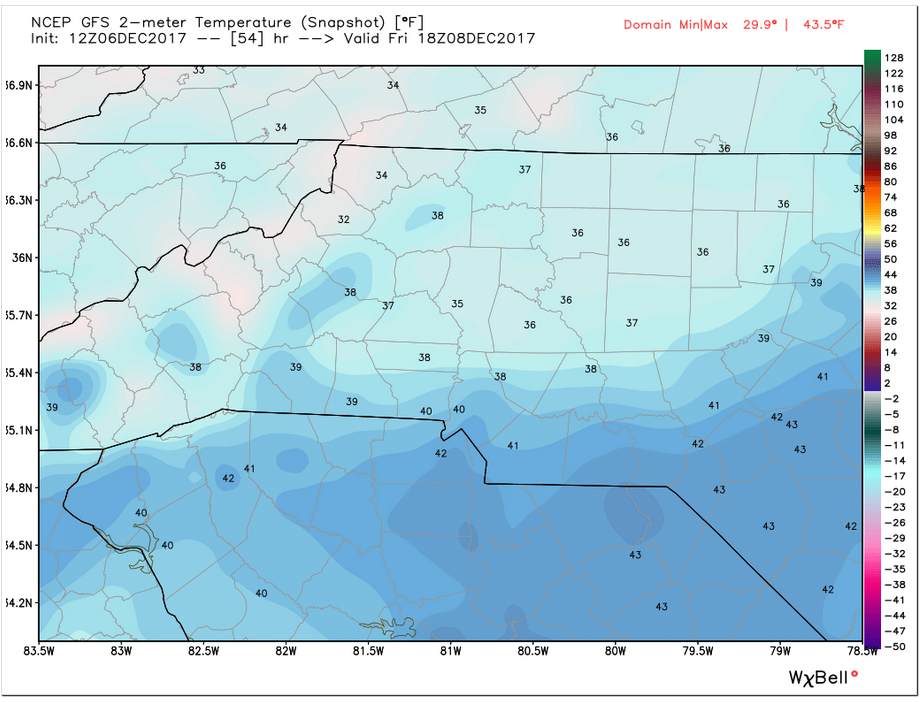 GFS Temperatures (Friday 1 pm)